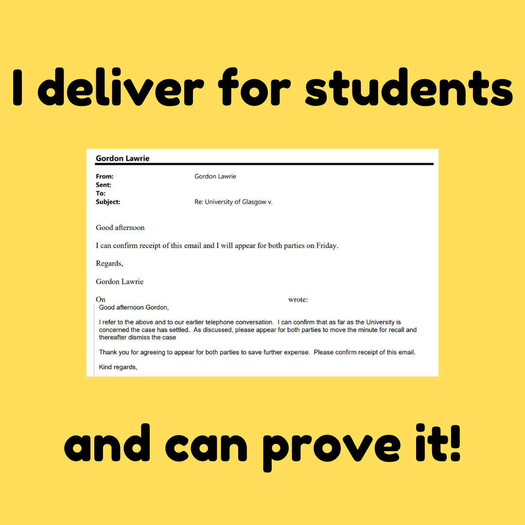 I deliver for students and can prove it! Extract of an email showing successful resolution of a case on behalf of a student.