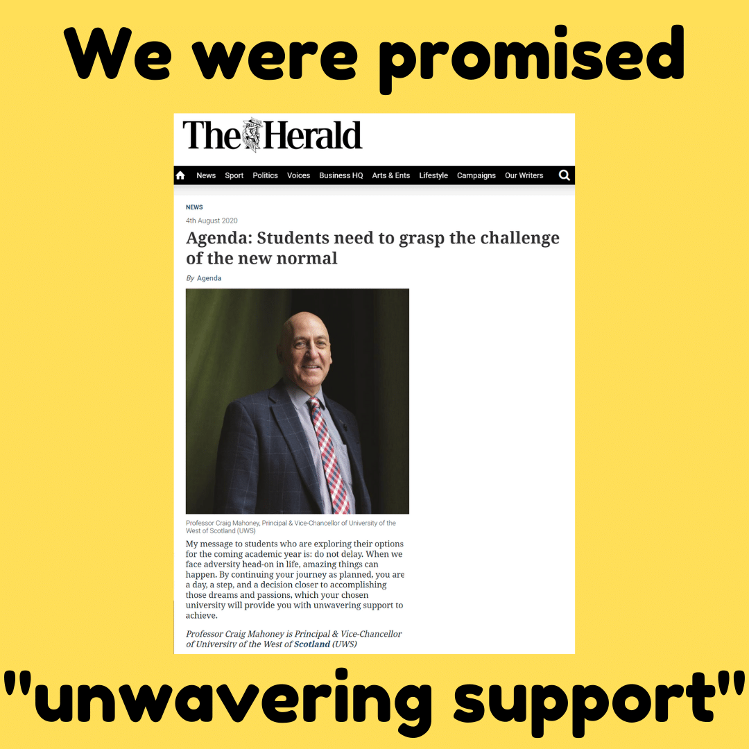 "Herald Article where the principle promises ""unwavering support"""