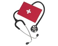 A black stethoscope, with a red binder with a white cross.